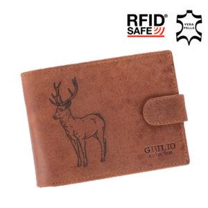 Vadász pénztárca bőr díszdobozban RFID rendszerrel szarvas mintával