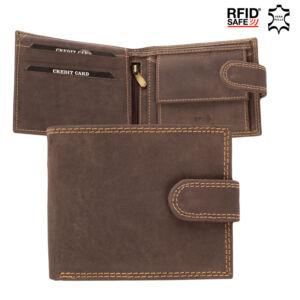 Valódi bőr HUNTER férfi pénztárca díszdobozban barna színben RFID védelemmel