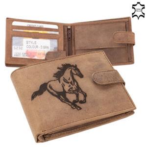 Bőr pénztárca barna színben lovas mintával 5702-horse