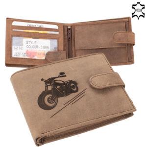Bőr pénztárca barna színben chopper mintával 5702-chopper