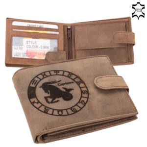 Bőr pénztárca barna színben Horoszkóp mintával Bak 5702-capricorn
