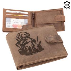 Bőr vadász pénztárca barna színben  vadászkutya mintával 5702-dog