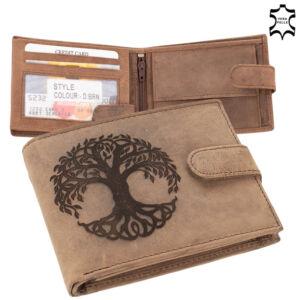 Bőr pénztárca barna színben életfa mintával  díszdobozban 5702-eletfa