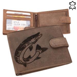 Horgász bőr pénztárca csuka mintával 5702-csuka