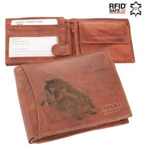 Motoros bőr férfi pénztárca díszdobozban RFID rendszerrel ( 8 kártyatartó )