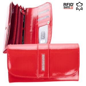 Fairy Crystal valódi lakkbőr női pénztárca NP 789 Red RFID védelemmel