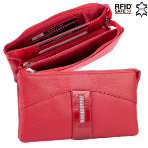 Fairy Crystal köves valódi bőr női pénztárca NP 130 Red1 RFID védelemmel
