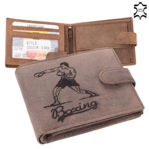 Bőr pénztárca barna színben box mintával  díszdobozban 5702-boxing