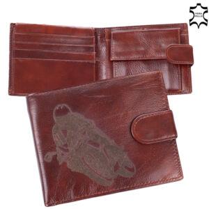 Motoros bőr férfi pénztárca