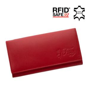Fairy valódi bőr piros női pénztárca RFID védelemmel díszdobozban