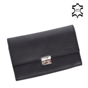 Vera Pelle valódibőr Brifkó pénztárca pincér pénztárca fekete színben