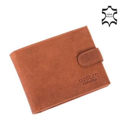 GIULIO valódi koptatott bőr férfi pénztárca díszdobozban,,