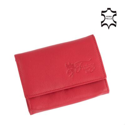 Fairy valódi bőr piros női pénztárca díszdobozban