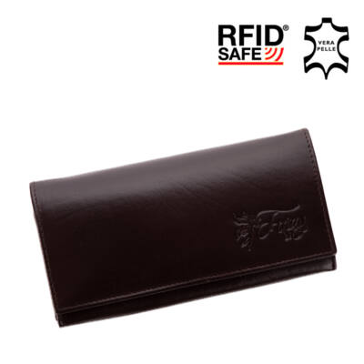 Fairy valódi bőr sötétbarna női pénztárca RFID védelemmel*