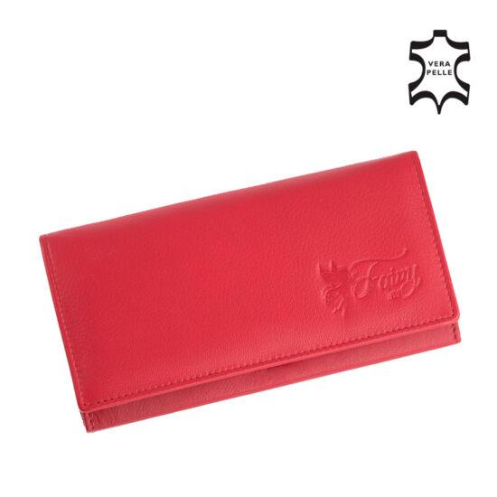 Fairy valódi bőr piros női pénztárca