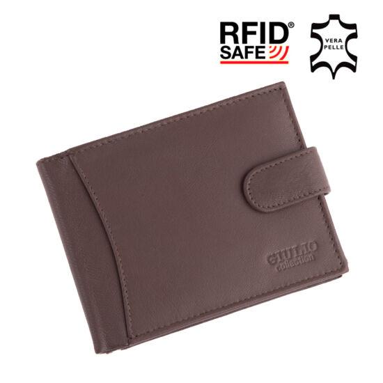 GIULIO valódi bőr férfi pénztárca díszdobozban RFID rendszerrel ( 8 kártyatartó )*