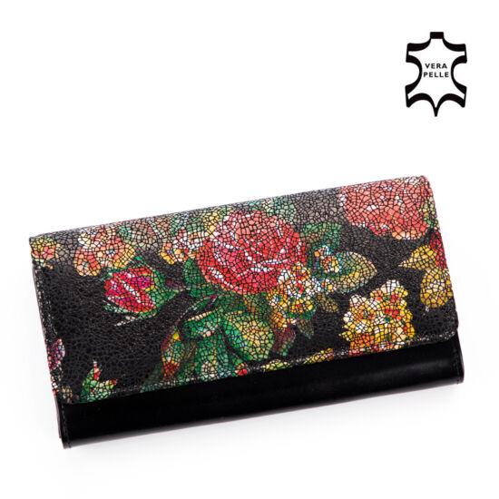 Valódi bőr Női virágos pénztárca