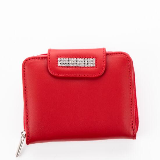 Lewitzky Swarovski köves valódi bőr piros női pénztárca NP 655*