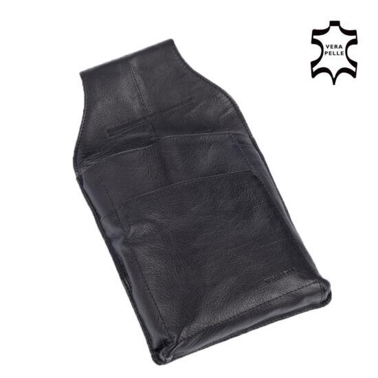 Valódi bőr pincér pénztárca tartó fekete színben